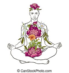 beautiful woman doing yoga meditation - Vector illustration...