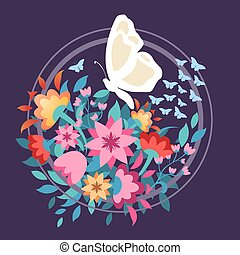 vector illustration beauty flowers with butterfly graphic design for t shirt