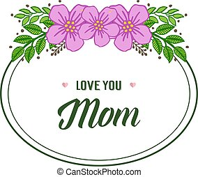 Vector illustration beauty purple wreath frame with lettering i love you mom