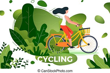 Vector illustration - bicycle riding girl in park