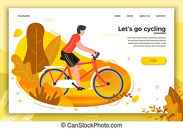Vector illustration - bicycle riding man in park