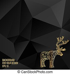 Vector illustration big buck. The structural grid of polygons. Abstract Creative concept deer vector background. Molecular lattice. Polygonal design style letterhead and brochure.