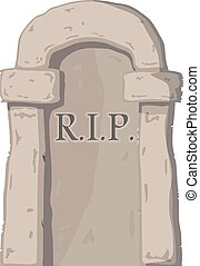 Vector illustration big gravestone on white background. Cartoon image of a grave stone with
