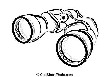 Binocular - Vector illustration - Binocular on a white ...
