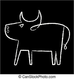 Black and white bull icon in lineal style.
