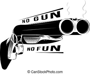 Vector illustration black and white shotgun isolated background
