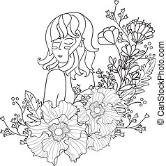 Vector Illustration Black and White Woman with flowers. coloring pages for adults.