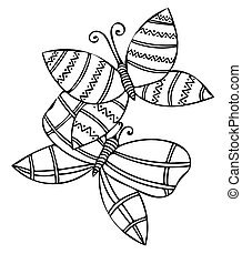 Vector illustration black line butterfly for coloring book