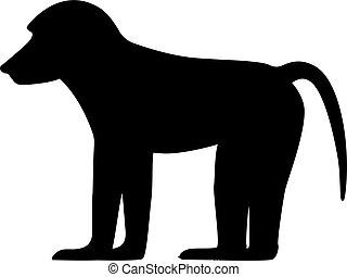 Vector illustration black silhouette baboon