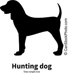 Vector illustration black silhouette hunting dog