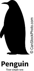 Vector illustration black silhouette of a penguin
