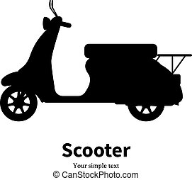 Vector illustration black silhouette of a scooter