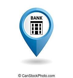 Blue map pointer with a bank icon
