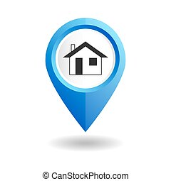 Blue map pointer with a home icon