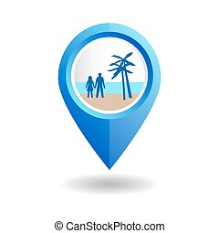 Blue map pointer with people on a beach