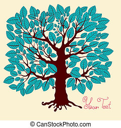 Vector illustration: blue tree