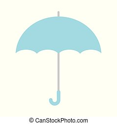 Vector Illustration. Blue umbrella icon. Blue umbrella isolated on white background.