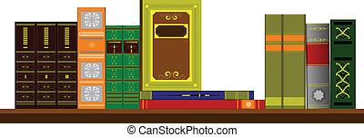 Vector illustration bookshelf library with books