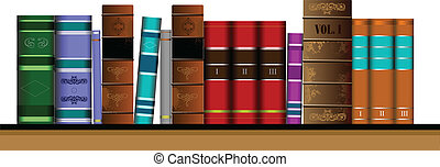Vector illustration bookshelf libr