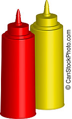 Bottles of Ketchup and Mustard - Vector illustration -...