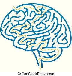 Brain maze with solution path. Editable and plain.