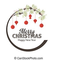 Vector illustration branch with Christmas balls. Merry christmas decorations