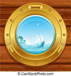 porthole - Vector illustration - brass porthole on a wooden...