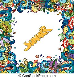 Vector illustration. Bright vector template with elements of hand drawn doodles on the theme of summer vacations with marine details. For greeting cards, web design,