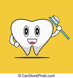 vector illustration - brush your teeth diligently.