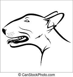 Bull terrier - Vector illustration : Bull terrier on a white...