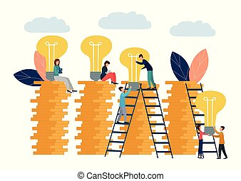 Vector illustration, business concept for teamwork, small people raise light bulbs on columns of money. Search for new ideas for financial growth