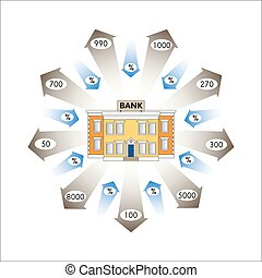 Vector illustration. Business graphics. Infographics: Bank Loans as a cash flow. Loans and advances to customers of the bank. Repayment of loans with interest. Banking.