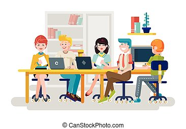 Vector illustration business people men women employees...