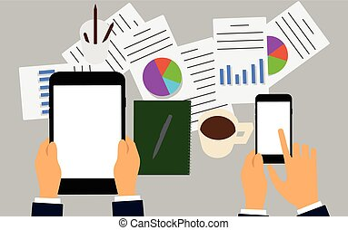 Vector illustration. Business workplace with people using digital tablet and smartphone.