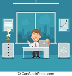 Businessman Sitting in Office and Showing Thumbs Up