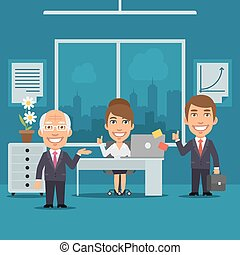 Businesswoman and Businessman in Office Smiling