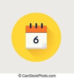 Vector illustration. Calendar day 6.