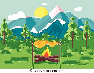 Vector illustration camping on nature, fry chicken meat on open fire bonfire with firewood grill, adventure, park outdoor background of mountains, backdrop trees and sun in flat style