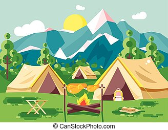 Vector illustration camping with tents on nature, fry chicken meat on open fire bonfire with firewood grill, adventure, park outdoor background of mountains, backdrop trees and sun in flat style