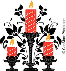 Vector illustration candle in flowers. Doodle drawing.