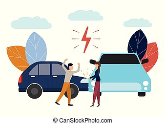 Vector illustration, car accident, flat style, people drivers man and woman swear, non-compliance with traffic rules.