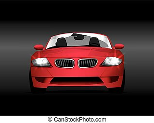 Vector illustration. Car red
