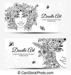 Vector illustration , Card, Banner - girl with flowers. Doodle drawing. Meditative exercise. Coloring book anti stress for adults. Black white.