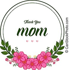 Vector illustration card love mom with round pink flower frames