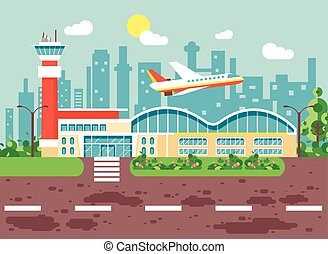 Vector illustration cartoon airport, late delay departing plane, awaiting for travel trip holiday weekend flat style city background for motion design or site banner
