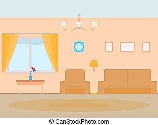 Vector illustration cartoon background living room