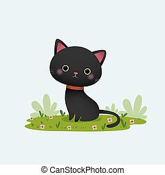 Vector illustration cartoon black cat sitting in the garden.