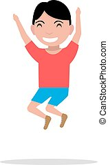 Vector illustration cartoon boy jumping happiness