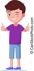 Vector illustration cartoon boy showing thumbs up
