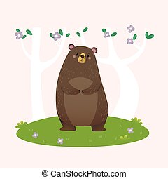 Vector illustration cartoon brown bear standing in the forest.